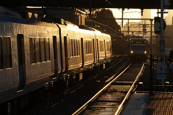 Up and down X'Trapolis trains cross paths at Burnley
