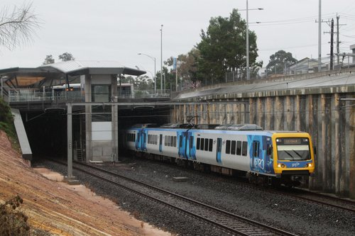 X'Trapolis 14M departs Nunawading station on a down Lilydale service