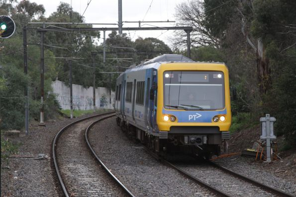 Out of service X'Trapolis train passes through Darling station, following a pantograph failure