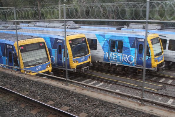 X'Trapolis trains 214M, 915M and 103M stabled at Ringwood