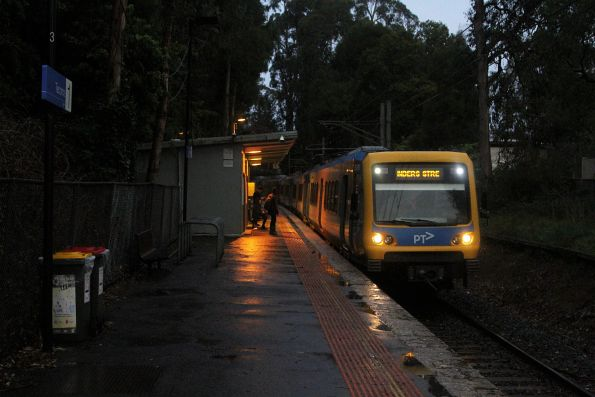 X'Trapolis train arrives into Tecoma with an up Belgrave service