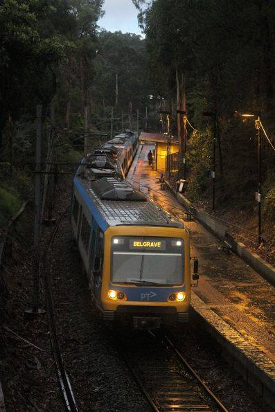 X'Trapolis train arrives into Tecoma with a down Belgrave service