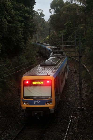 X'Trapolis train departs Tecoma with a down Belgrave service