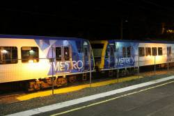 X'Trapolis 87M and 936M stabled at Upper Ferntree Gully