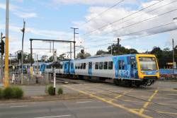 X'Trapolis 250M departs Mooroolbark on an up Lilydale service