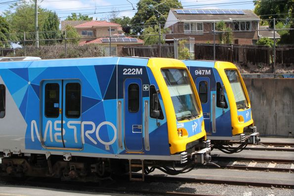 X'Trapolis 222M and 947M stabled at Ringwood