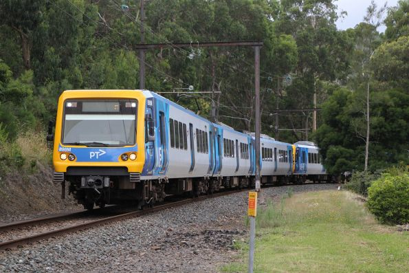 X'Trapolis 898M arrives into Upper Ferntree Gully on an up Belgrave service