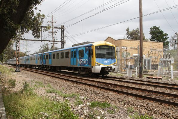 Siemens train 741M passes the traction power substation at Seaford