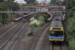 Cranbourne-bound EDI Comeng runs express through Hawksburn