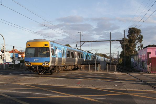 Alstom Comeng 603M arrives into Ormond station on an up Frankston service