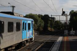 Siemens train departs Prahran station with an up Sandringham service