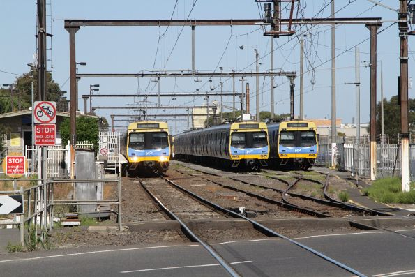 Comeng train on a citybound service awaits departure time from Pakenham station