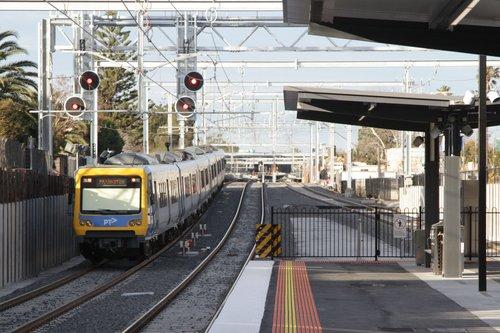 X'Trapolis 183M departs the newly rebuilt low level station at McKinnon on a down Frankston service