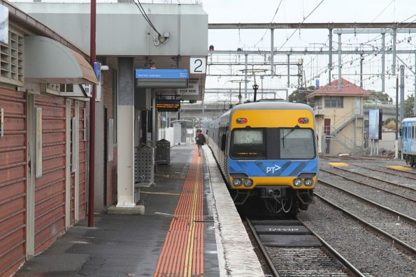 Comeng train stands at Frankston platform 2