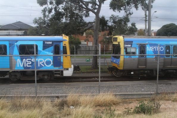 Siemens 708M and EDI Comeng 544M stabled at Dandenong