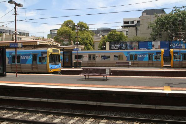 EDI Comeng trains 327M, 337M and 400M on the up at South Yarra