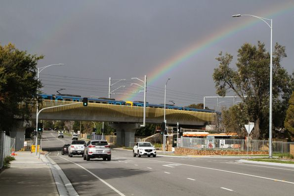 Siemens train crosses the Seaford Road bridge on a down Frankston service