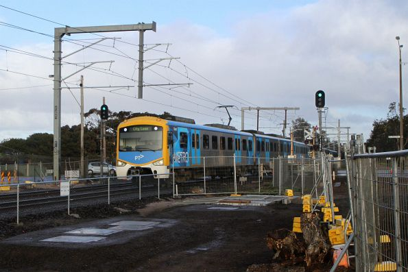 Siemens 734M crosses Eel Race Road on an up Frankston service