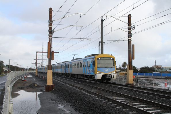Siemens 705M on the temporary track at Carrum with an up Frankston service