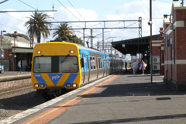 Life extension Alstom Comeng 374M arrives into Caulfield on a down Frankston service
