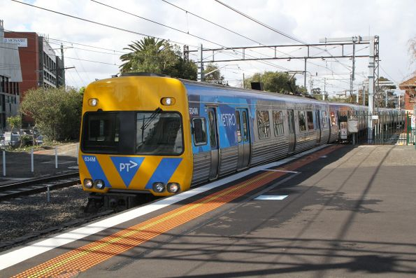 Life extension Alstom Comeng 634M arrives into Caulfield on an up service