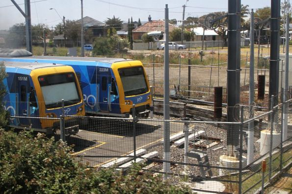 X'Trapolis 151M and 223M stabled at Mordialloc