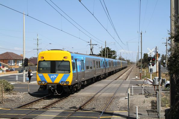 Life extension Alstom Comeng 338M departs Aspendale on the down