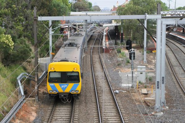 Alstom Comeng 649M trailing an up Frankston service at Armadale
