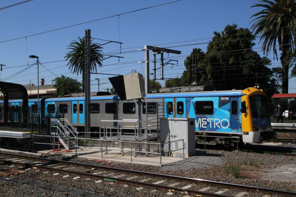 Siemens 807M trails a down Cheltenham service at Caulfield