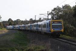 X'Trapolis 13M departs Eltham bound for Hurstbridge