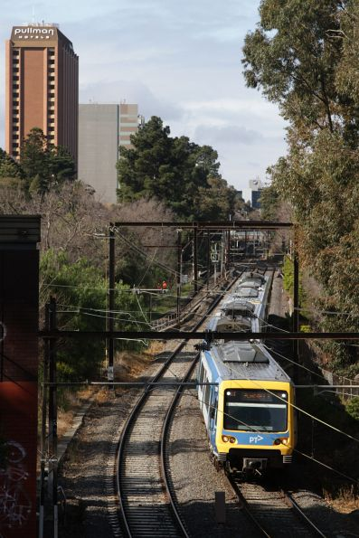 X'Trapolis departs Jolimont station bound for Flinders Street