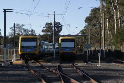 Pair of stabled X'Trapolis trains in the yard at Hurstbridge