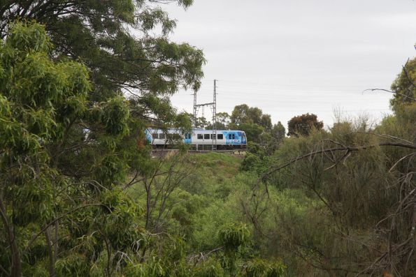 X'Trapolis 169M leads a down South Morang service over Merri Creek