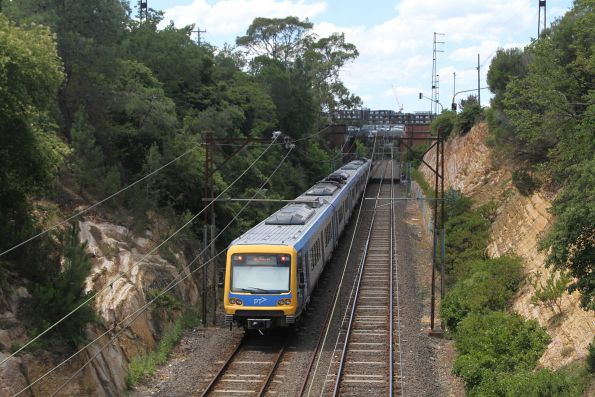 X'Trapolis train departs Darebin station on a down Eltham service