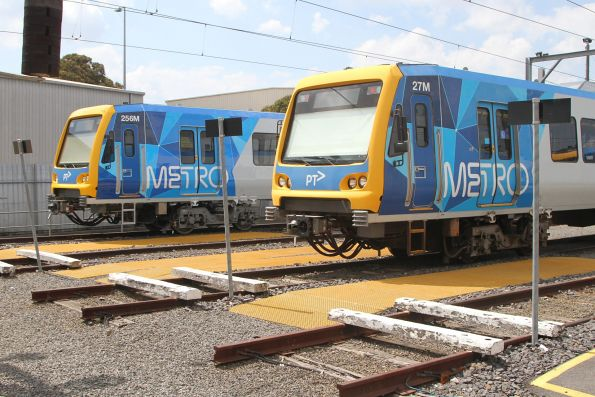 X'Trapolis trains 256M and 27M stabled in the workshops at Epping