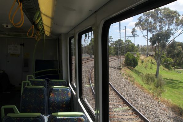 Headed through the Rushall Curve onboard an X'Trapolis train