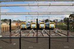 Four X'Trapolis trains stabled for the weekend at Mernda