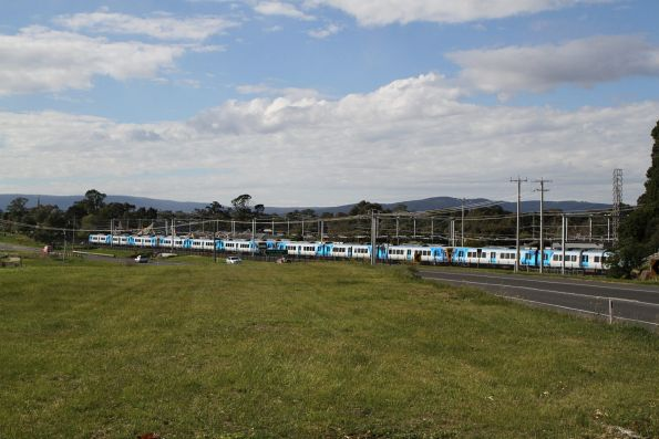 Six X'Trapolis trains stabled for the weekend at Mernda