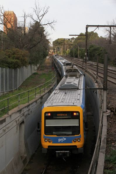 Down Mernda service exits the City Loop portal at Jolimont