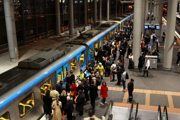Siemens picks up passengers at Southern Cross platform 14