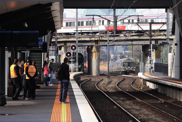 Trains, trains everywhere at the city end of North Melbourne station