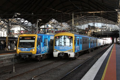 X'Trapolis 955M at Southern Cross platform 10, beside Siemens 815M in the middle road 10A