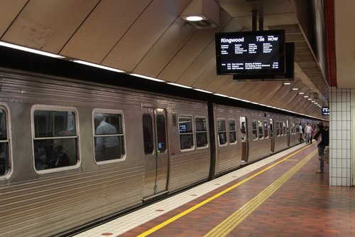 Hitachi train at Melbourne Central platform 4