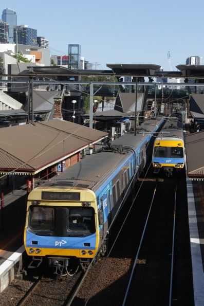 Alstom and EDI Comeng trains cross paths at North Melbourne