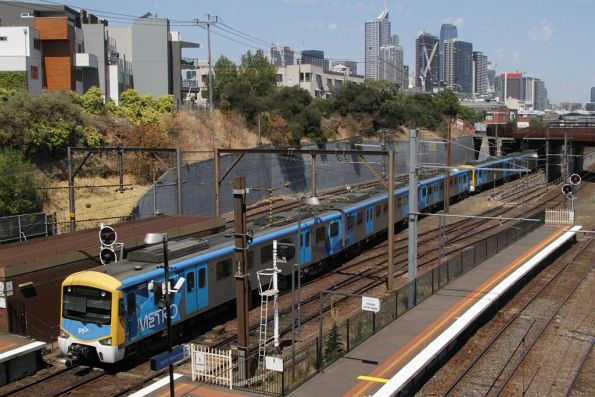 Siemens 758M heads into the city at North Melbourne