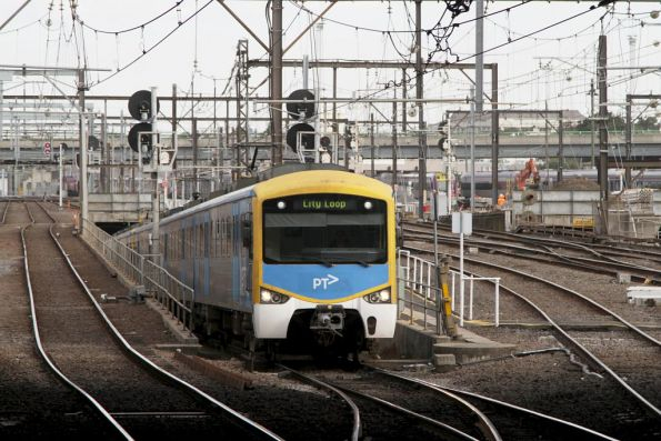 Siemens train emerges from the Caulfield Loop portal at Southern Cross