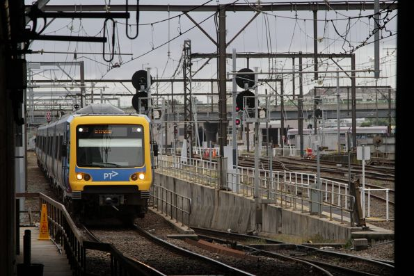 Out-of-service X'Trapolis train heads into the city at Southern Cross