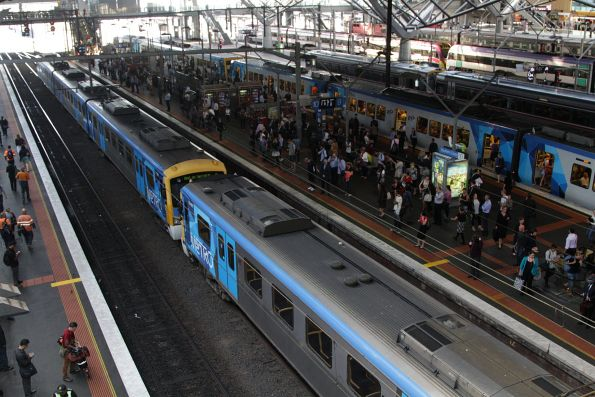 Siemens train sits in track 10A at Southern Cross