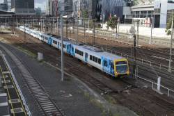 X'Trapolis 123M departs Southern Cross, headed empty cars to Flemington Racecourse to stabled between peaks