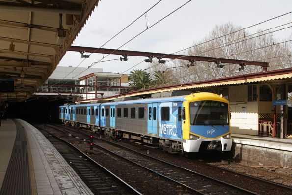 Siemens 741M arrives into Flinders Street platform 10